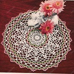 green pink doily